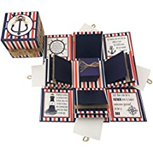 Crack of Dawn Crafts 3 Layered Dad Explosion Box - Nautical Tones