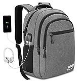 YAMTION Rucksack Herren Laptop Rucksack Schulrucksack mit USB Ladeanschluss und Kopfhöreranschluss für Reise Arbeit Business
