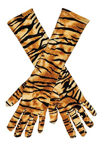 krautwear® Damen Handschuhe mit Tiger Tier Fell Muster (Cheerleader Kostüm Muster)