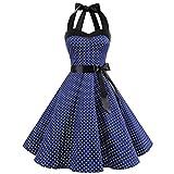 OIKAY Neckholder Rockabilly 50er Vintage Retro Kleid Petticoat Faltenrock