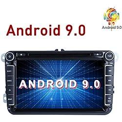 """Android 9.0 Autoradio stéréo de Voiture 2 DIN avec écran Tactile HD 8"""" Lecteur DVD Navigation GPS pour VW Golf Polo Passat Tiguan Jetta Support WiFi Bluetooth Radio Miroir Link"""