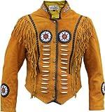 Western-Lederjacke Indianer Tracht Westernjacke Reiter Jacke Ocker, Größe:52