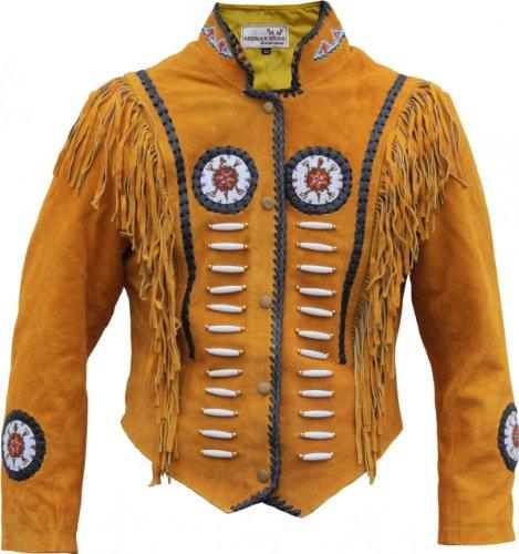 Preisvergleich Produktbild Western-Lederjacke Indianer Tracht Westernjacke Reiter Jacke Ocker, Größe:58
