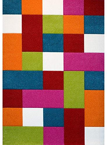 PHC - Alfombra infantil, diseño de cuadros, multicolor