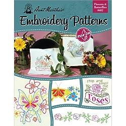 Tante Martha 's Blumen und Schmetterlinge Stickmuster-Buch mit mehr als 25Mustern zum Aufbüglen