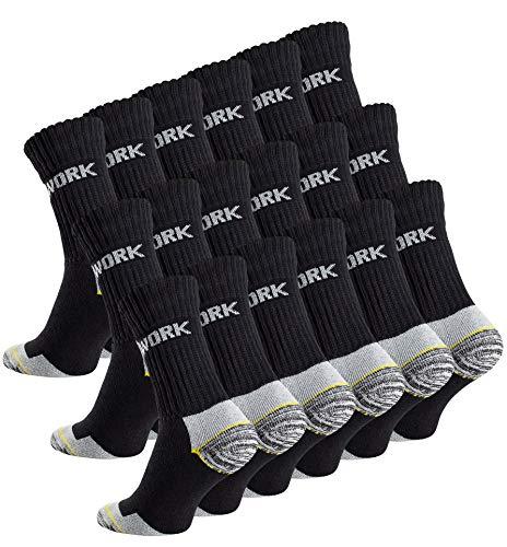 Baumwolle Socken Wandern (18 Paar Herren Arbeitssocken - Robuste Atmungsaktive Work Socks - Berufssocken von Cottonprime)
