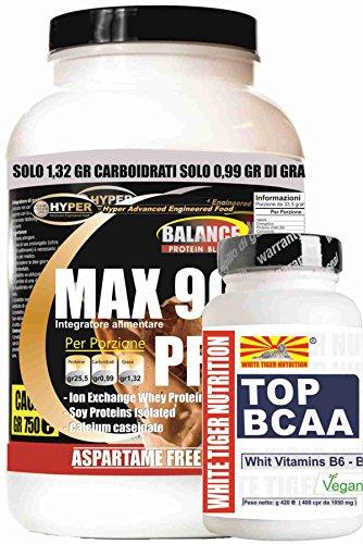 Proteine bcaa kit 2 integratori max 90 pro gr 750 gusto cacao + aminoacidi ramificati 2:1:1 potenziati con vitamine b6 e b1 100 compresse