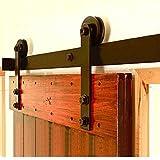 hahaemall 3660mm Country rustikal Deckenleuchte Barn Double Door Schiebetür Track Roller Hardware Haken aus Stahl Flat Rail schwarz Kit