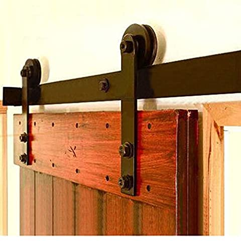 Hahaemall 1.5m vintage décoratifs Stright Roue Motif Acier Poulie Unique Porte de Grange coulissante suivi matériel Roller Rolling Plat Ensemble de rail