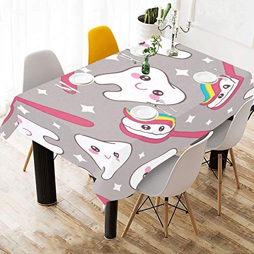 Tissu De Table Pas Cher Brosse À Dents Et Dentifrice Coton Imprimer Linge De Table Housse en Tissu Nappe pour Cuisine Salle À Manger Décor 60x84 Pouce Table Cover Enfants