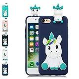 LA-Otter Coque iPhone 7 Plus 8 Plus Bleu Foncé Licorne Ultra Fine Slim Mince...