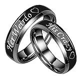 Blisfille Edelstahl Ring Schwarz Trauringe Paare Damen Herren Ringe Partnerringe Graviert Herz His Crazy Her Weirdo Breit 6mm Eherringe Schwarz Paarringe Damen Gr.52 (16.6) & Herren Gr.67 (21.3)