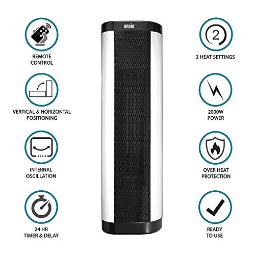 51zNd97rlmL. SS500  - ANSIO 2000W Oscillating PTC Ceramic Tower Heater with Remote Control Upright/Flatbed Heater Internal Oscillation 24 Hour Timer & 2 Heat Settings Thermostat and Safety Cut-Off - 2 Years Warranty