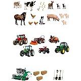 30tracteurs, pelleteuses, animaux de la ferme et outils en papier de riz comestible de première qualité pour la décoration de gâteaux
