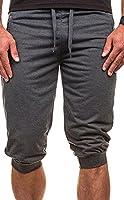 Fulok Mens Pocket-Zipper Jogger Capri Drawstring Slim Pant Short M Dark Gray