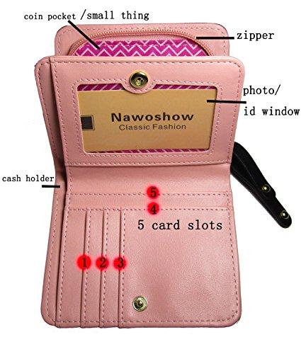Nawoshow donne gatto sveglio della moneta del raccoglitore borsa Bifold Portafoglio Pochette (Rosa) Blu