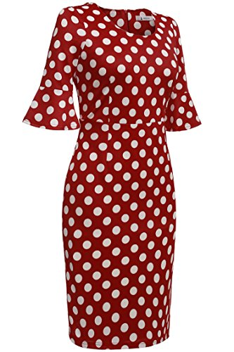 ANGVNS Damen Polka Dots Kleid Pencil Bleistift Kleid Cocktail Abendkleid knielang Ärmel -