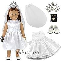 Miunana 1 Vestido Novia Vestir Ropa Boda + 1 Velo + 1 Zapatos + 1 Corona +1 Biblia Accesorios como Regalo para 18 pulgadas Muñeca 46 cm American Girl Doll