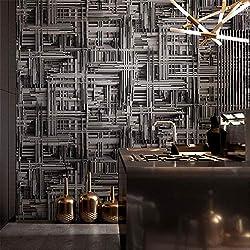 KAJHGP Imitation Papier peint en acier de type industriel de vins géométriques en métal vieilli pour restaurant/restaurant, noir