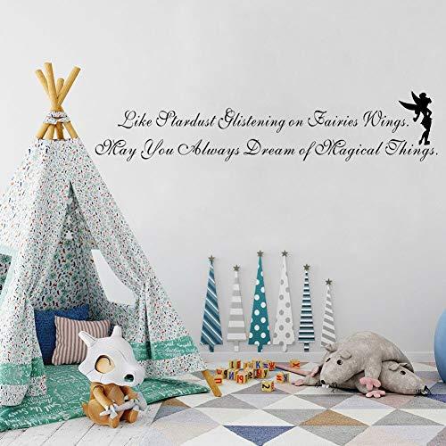 yiyiyaya Wie Sternenstaub glitzert auf Fairies Wings Wall Decal Flying Fairy Art Schriftzug für Baby Nursery Kids 11 * 58cm (Halloween Wings Fairy Diy)