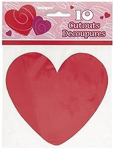 Mini Paper Cut Out Corazón Rojo Decoración, 10unidades)