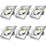 BRANDSON - 6 x Set Ultra Flach LED Deckenspot eckig warmweiß schwenkbar | Einbauleuchte | Einbauspot/Deckenstrahler | Slim Aluminium Druckgussrahmen/Edelstahl Optik