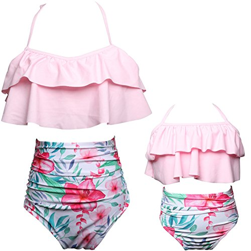 Swallowuk Familie Passende Bademode Retro Hohe Taille Bikini Sets Sommer Strand Neckholder Bademode Mutter und Mädchen Badebekleidung (116, Rosa)