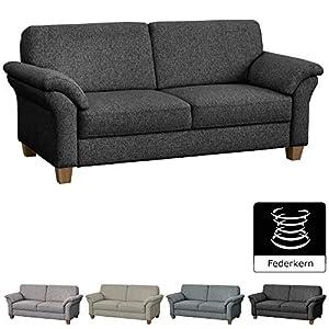 CAVADORE 3-Sitzer Byrum im Landhausstil / Großes Sofa mit Federkern / Landhaus Garnitur / 186 x 87 x 88 / Grau
