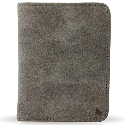 BULLAZO Fino Urban, kleines Herren Slim Wallet mit RFID Schutz, Leder, Grau