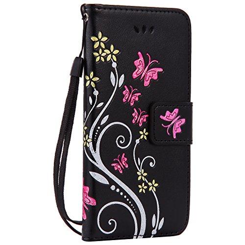 iPhone 6sPlus Lederhülle, iPhone 6Plus Handytasche, CLTPY Ständer Folio Brieftasche Luxus Malereifarbig Schutzfall mit Karteneinschub & Magnetverschluß, Premium PU Leather Case für Apple iPhone 6Plus/ Schwarz 1