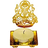 Maayra Ganpati Ganesh Diya Puja Festival God Idol Antique Gold Plating Free Wax With No Smell
