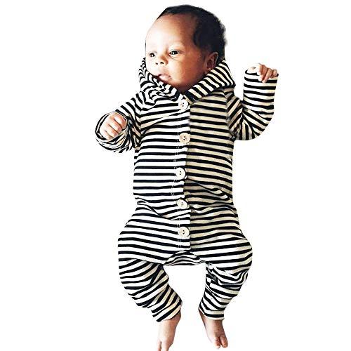 DIASTR Niedlich Babykleidung, Baby Strampler Overall Neugeborene Säuglingsbaby-mädchen-mit Kapuze Spielanzug-knopf-gestreifte Overall-Kleidung 0 Monate-18monate
