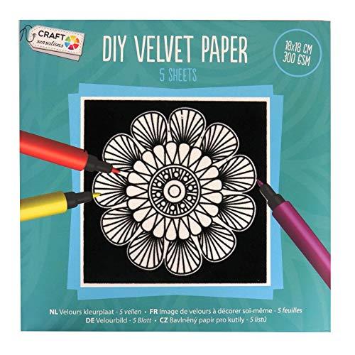 Craft Sensations DIY En velours papier - 5 feuilles de coloriage, dessins variés, 180 mm Carré, Lot Vert clair
