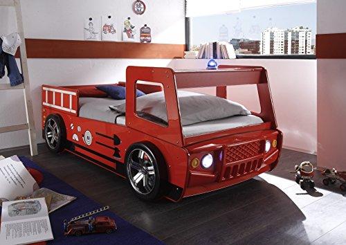 *XANA-Möbel Autobett Kinderbett / Feuerwehrauto 90×200 Feuerwehrautobett Rot*