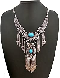 The Trendy Trendz Tribal And Gypsy Style Oxidised Silver Statement Necklace For Girls And Women(Navratri Jewellery...