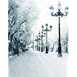 A.Monamour Scenic Winter White Snow Trees With Rimes Hoarfrost Christmas Holiday Mural Party Wall Decorations Vinyl Fabric Photography Backdrops 5x7ft - Stree Lights Night
