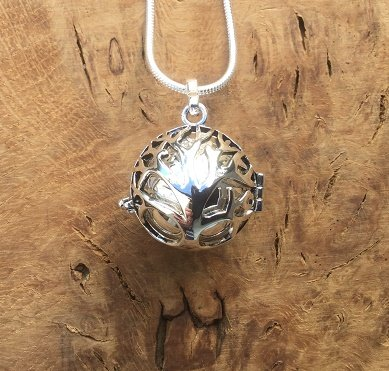 SILVER Tree of Life Käfig mit Silber Bola L Harmony Ball Halskette Kit L 'Mexikanische Bola' L A Lovely Schwangerschaft Geschenk