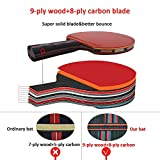 Sportout ITTF Approved Table Tennis Bat, Professional Pingpong Racket Paddle with Case, 9-ply Wood and 8-ply Carbon Blade
