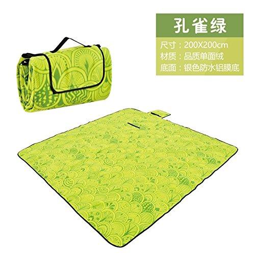 wysm Tappetino da picnic 200 * 200cm barriera di umidità tappeto da spiaggia tenda da pic-nic tenda da campeggio ispessimento impermeabile ( Colore : Fiori ) Verde