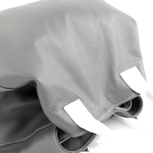ital. Tasche Damentasche Ledertasche Handtasche Schultertasche ECHT LEDER T60 Grau