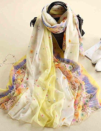 Pañuelos de gasa estilo de primavera y otoño de la Mujer grande de la bufanda del mantón impreso bufanda dual – – Uso de Europa (11 colores del mismo tamaño)