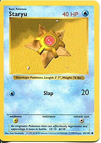 Pokemon Base Set Shadowless Common Card #65/102 Staryu