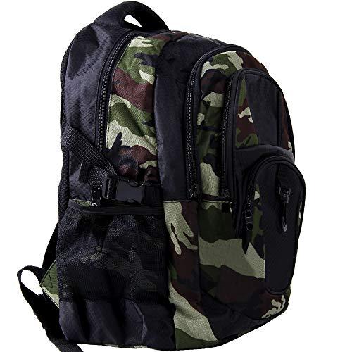Monzana Rucksack Laptoprucksack Notebookrucksack Backpack Schulrucksack Schulranzen Freizeitrucksack 34 l Boden- und Innenfachpolster wasserabweisend strapazierfähig 7 Fächer camouflage