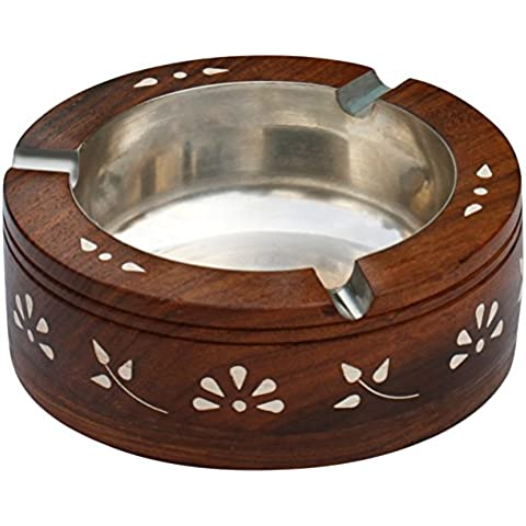 SouvNear Retro Ashtrays for Outdoors and Indoors - Vintage Look, Round, Large Wooden Ash Tray with a Steel Receptacle Bowl, 3 Cigarette Holder Slots and Decorative Inlay Work on the Outside