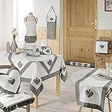 Charme et Douceur Runner da tavola Fanny in poliestere, 40x 140cm, colore: grigio/bianco