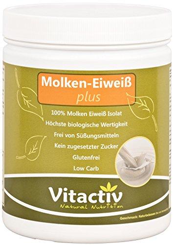 MOLKEN-EIWEISS plus - Molken-Eiweiß-Isolat für Figur und Sport - das Hochwertigste aus der Milch + Vitamin B3 + B6 für Energie, Nerven, Psyche, Herz, Immunsystem* (500 g Molke Eiweiss Pulver)