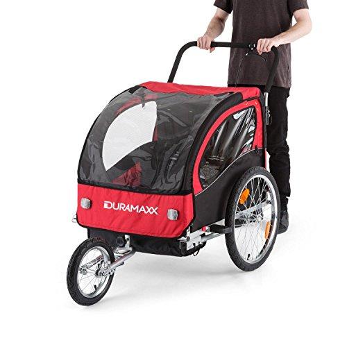 DURAMAXX • Trailer Swift • Fahrradanhänger • Kinderfahradanhänger • Kinderwagen • Babytrailer 2-Sitzer • 5-Punkt Sicherheitsgurten • Umwandlung in Joggermodell • Fliegengitter und Regenschutzverdeck • 37,5 Liter Gepäckfach • zusammenklappbar • rot - 6