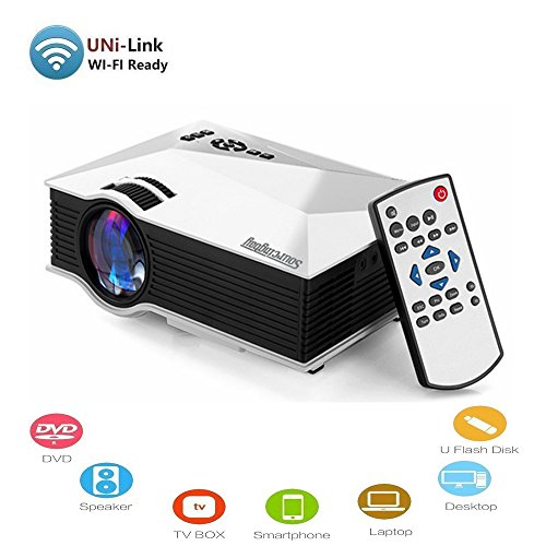 Jeasun Mini Wireless Projector, Sourcingbay UC46 Wifi (Only DLNA) Projector Full Color 130 Inch Portable Entertainment Home Cinema Theater Multimedia LCD LED Pico Projector 800x480p USB/AV/SD/HDMI/VGA Input
