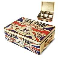 NATIVES 211145 Lord Brian Boîte à thé de 6 compartiments Métal Multicolore 20 x 14,5 x 6,5 cm