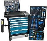 DeTec. Werkstattwagen blue Edition inkl. Werkzeug + GRATIS COB Akku Arbeitsleuchte